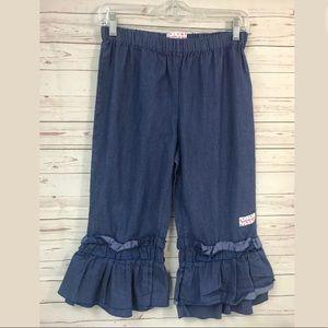 Ruffle Girl Pants Medium Blue Jean Denim Chambray